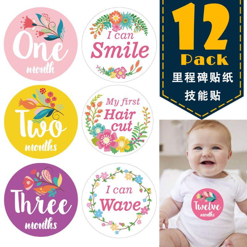 Первый год ребенка ежемесячная веха Фото обмен детские наклейки на живот рождения до 12 месяцев и 8 бонусных достижения наклейки