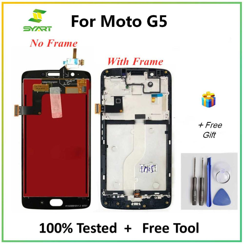 For Motorola Moto G5 LCD Display Touch Screen Digitizer Assembly With Frame Replacement For Moto G5 XT1672 XT1676 5.0 Inch LCDs