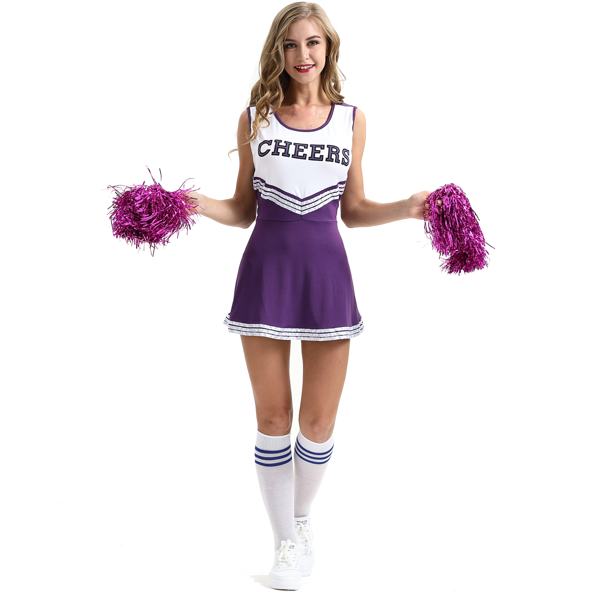 XL Sexy Female Cheerleader Costume Cheerleading Suits Uniform Stage Performance Shape Cheerleader Clothing Wiht Pom Poms