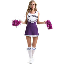 Xl Sexy Vrouwelijke Cheerleader Kostuum Cheerleading Suits Uniform Stage Performance Vorm Cheerleader Kleding Wiht Pom Poms(China)