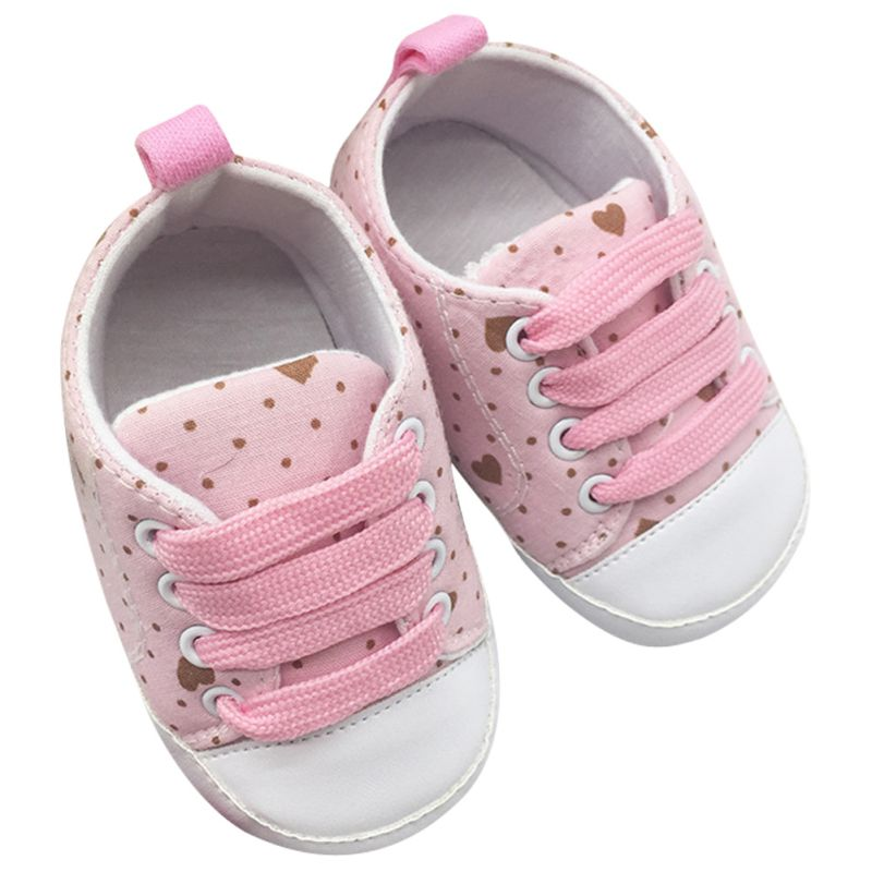 0-18M Infant Baby Boys Girls Soft Soled Cotton Crib Shoes Laces Prewalkers New Arrival