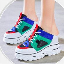 Modne trampki damskie skórzane sandały platformy klinowe szpilki muły klapki Slide On Party oksfordzie buty buty tanie tanio LCYB PRAWDZIWA SKÓRA Skóra bydlęca CN (pochodzenie) Super Wysokiej (8cm-up) 3-5 cm Na co dzień podstawowe Zwiększające wysokość