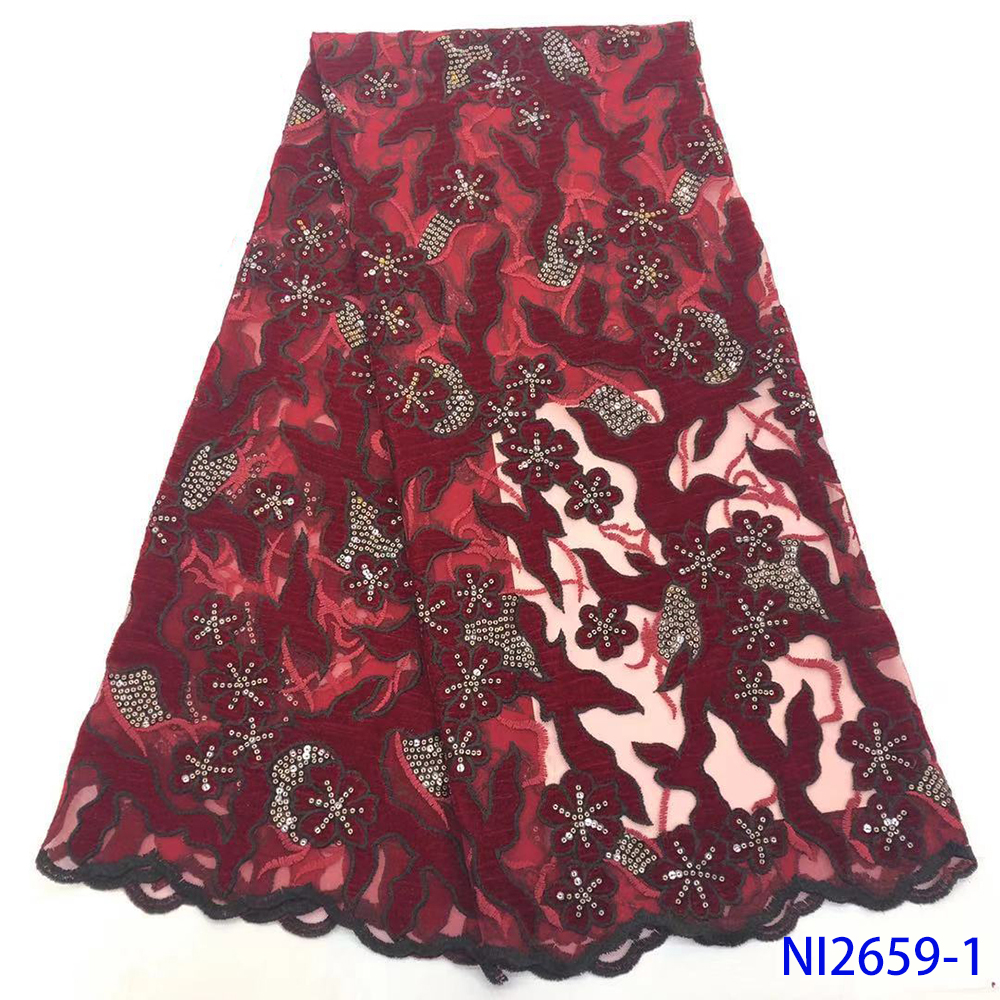 Sequence African Velvet Lace Fabric Glitter Embroidered French Mesh Sequins Lace High Quality Nigerian Tulle Lace Fabrics