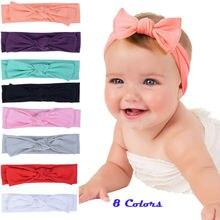 Новинка; эластичные повязки на голову с бантом для новорожденных девочек; повязка на голову с бантом для маленьких девочек