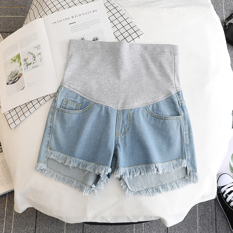 17432# Summer Thin White Denim Maternity Shorts High Waist Belly Short Jeans Clothes for Pregnant Women Pregnancy Casual Shorts 3