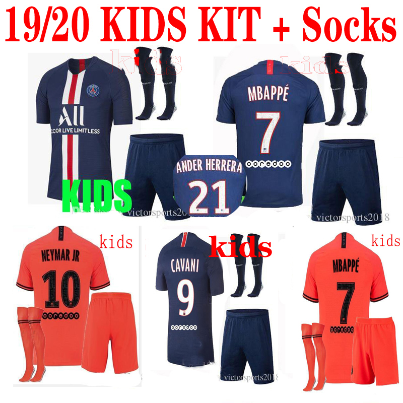 size 40 913a6 e10ef US $17.68 |2020 kids kit + sock ssoccer jersey 19/20 PSG child suit home  blue away orange MBAPPE football shirt Free Shipping on Aliexpress.com | ...