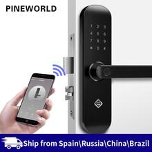 PINEWORLD биометрический замок отпечатков пальцев, безопасный интеллектуальный замок с WiFi приложением Пароль RFID разблокировка, дверной замок электронный гостиницы