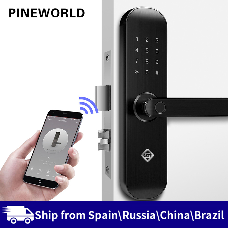 PINEWORLD Biometric Fingerprint Lock, Security Intelligent Lock With WiFi APP Password RFID Unlock,Door Lock Electronic Hotels