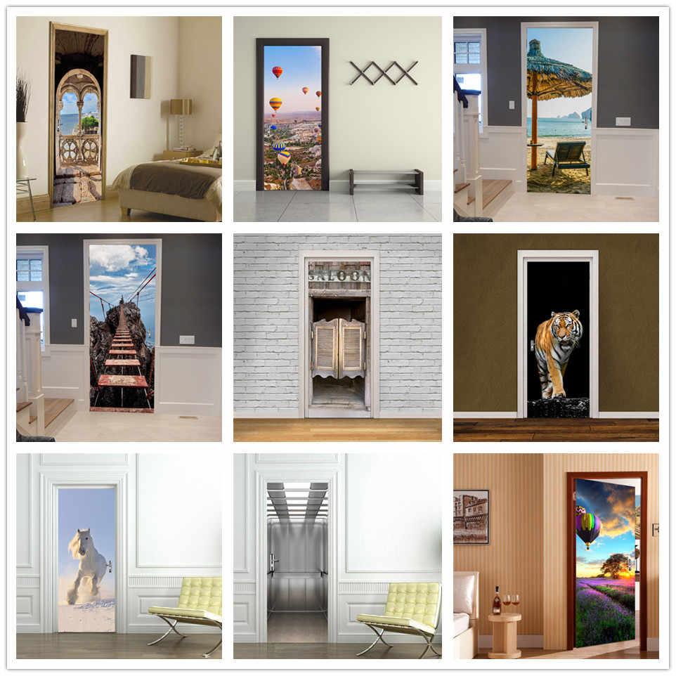 Removable 3D Door Sticker Decals Decor Vinyl Home Room Fridge Mural DIY #9