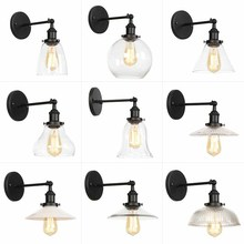 Black Retro Industrial Wall Sconces Clear Glass Lampshade Light Fixture Creative Stair Corridor Aisle Bar Lamp