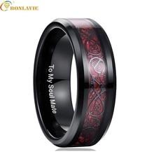 Red Carbon Fiber Dragon Rings men Wedding Jewelry 100% Tungsten Steel Ring For Men