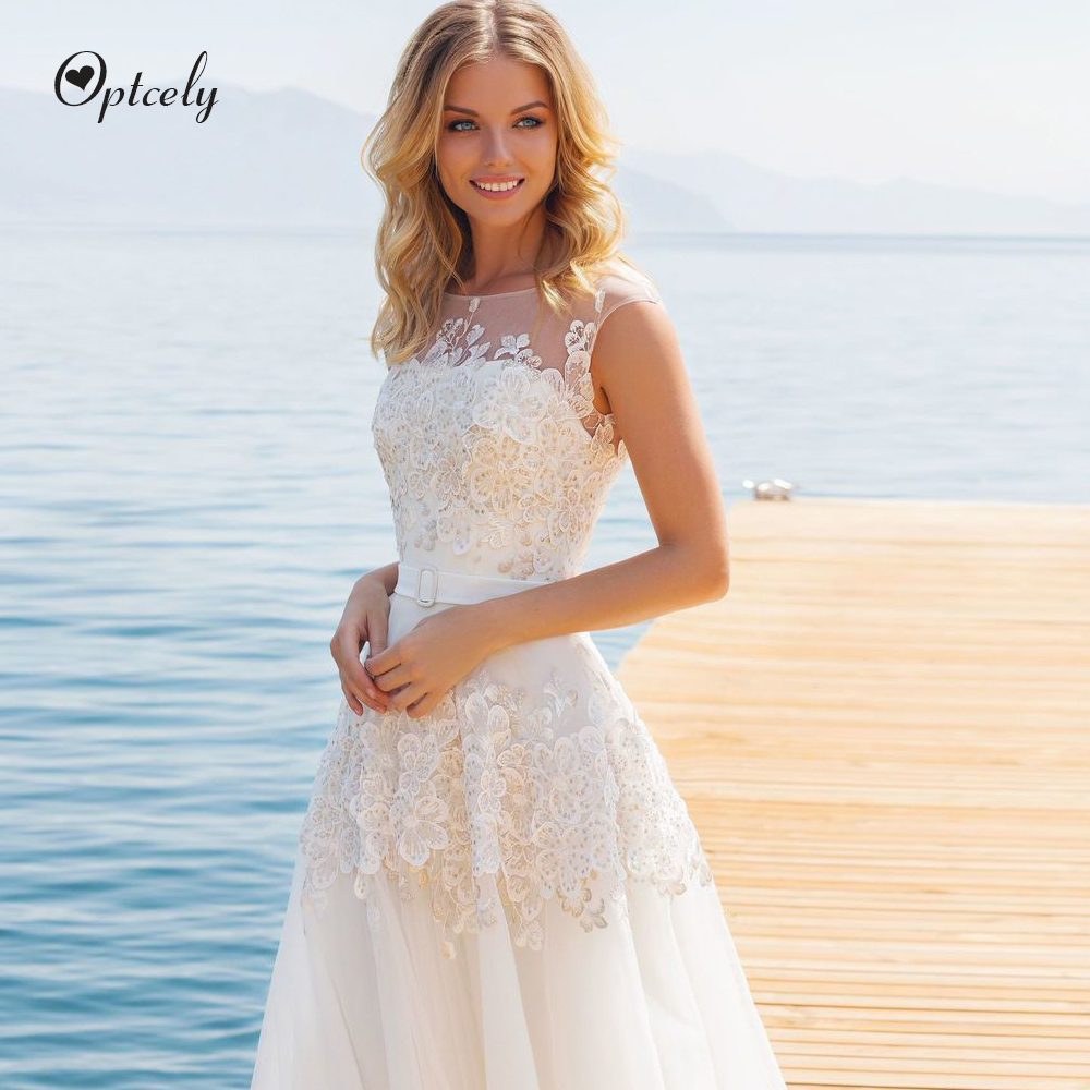 Optcely Charming Cap Sleeve Vestido De Noiva Scoop Neck A-line Tulle Button Wedding Dress 2019 Appliques Beaded Sweep Train Gown