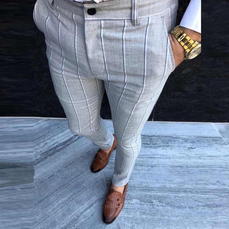 Sfit Pantalones Ajustados Chinos Para Hombre Pantalon Chino Diseno A Cuadros A La Moda Gris Con Rayas Informales Pantalones De Color Liso Pantalones Informales Aliexpress