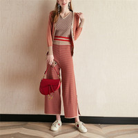 striped cardigans jacket suspender vest wide legs pants 3 piece set women knitting trousers suit outfit autumn loose