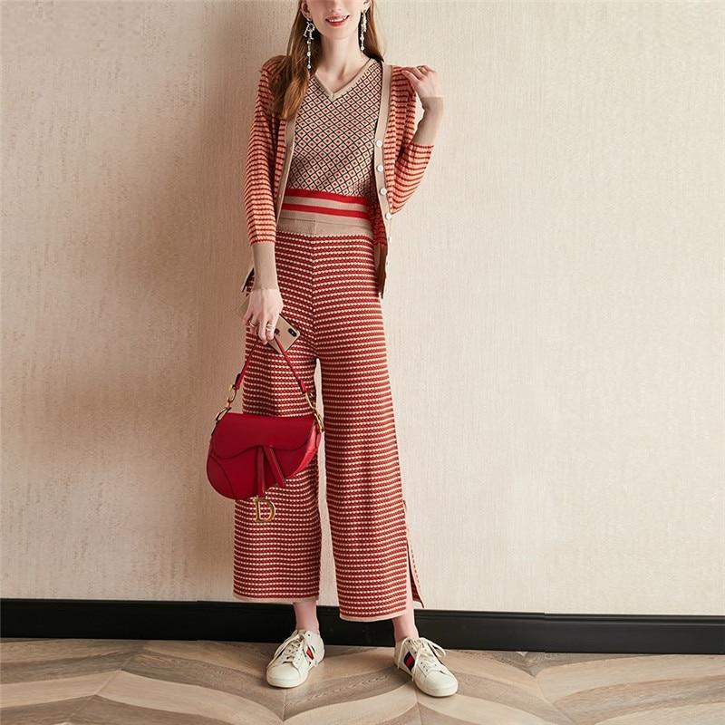 Striped Cardigans Jacket Suspender Vest Wide Legs Pants 3 Piece Set Women Knitting Trousers Suit Outfit Autumn Loose