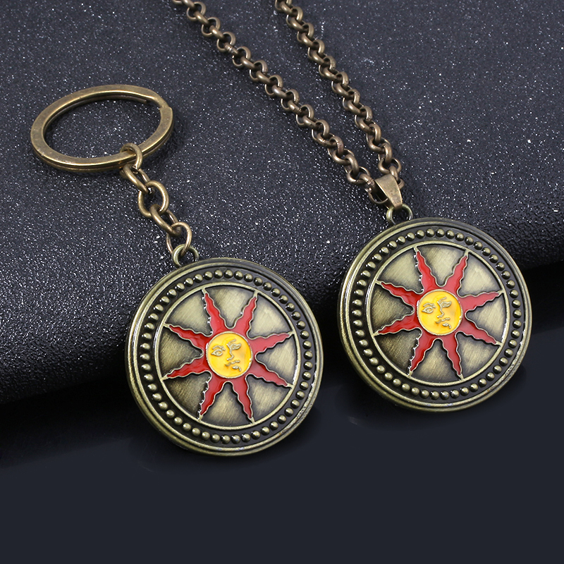 MIDY Dark Souls Sun Knight Shield Keychain High Quality Vintage Metal Keyring torque Men Car Accessories Jewelry