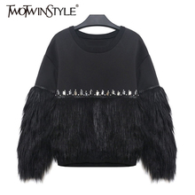 [Deuxtwinstyle] 2020 automne hiver sweat à capuche pour femme sweat épaissi fourrure épissé avec strass nouveau Streetwear