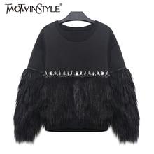 [TWOTWINSTYLE] 2020 Autumn Winter Women Hoodies Sweatshirt Thickened Fur Spliced With Rhinestone New Streetwear