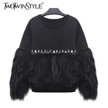[TWOTWINSTYLE] 2020 가을 겨울 여성 후드 티 스웨터 모조 다이아몬드가있는 두꺼운 모피 스플 라이스 New Streetwear
