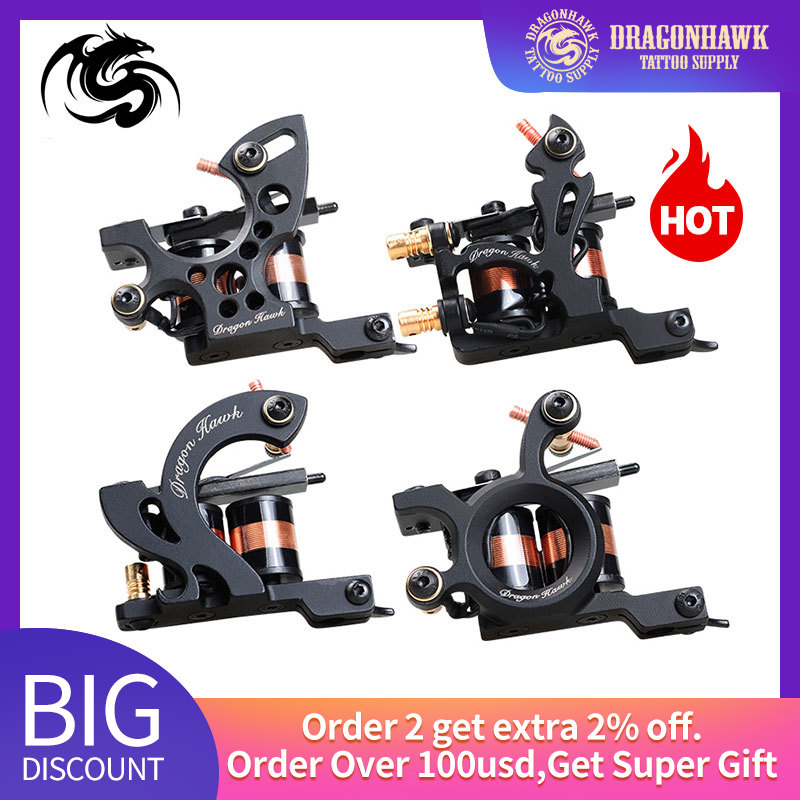 Top Quality Dragonhawk Tattoo Machine Iron Fine Lining Wrap Coils Guns Tattoo Supply