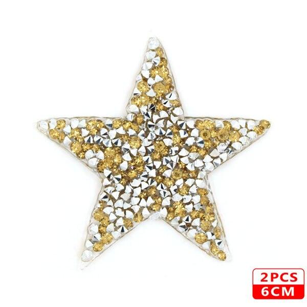 Стразы со звездами, смешанные размеры, нашивки, нашивки с вышивкой, термо-Стикеры для одежды, 5 видов цветов, блестки, нашивки для одежды, сделай сам - Цвет: 6cm Yellow 2pcs