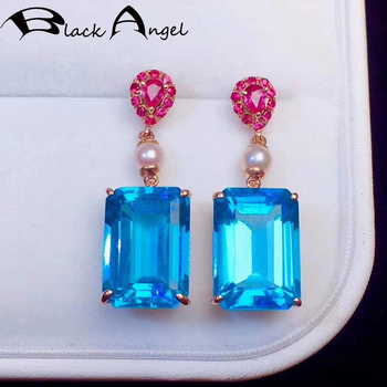 BLACK ANGEL 2020 New Luxury Princess Square Blue Topaz Pearl Drop Earrings for Women Red Corundum Fashion Jewelry Wedding Gift image
