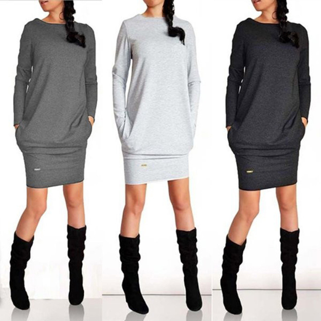 Female Autumn Long Sleeve Dress With Pockets Casual O-Neck Pure Color Clothing 2020 Fashion Gray Black Knee-length Dresses  2XL 5