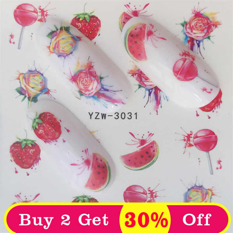 Zko frutas prego decalques adesivos arte do prego água slide decalques transferência flor cavalo presente bonito