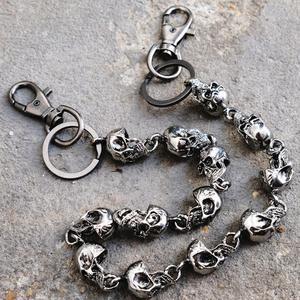 59 Cm Heavy Waist Biker Wallet Rock Punk Skull Trousers Motorcyle Hiphop Dance Pant Jean Chains Metal Keychain Men Jewelry(China)