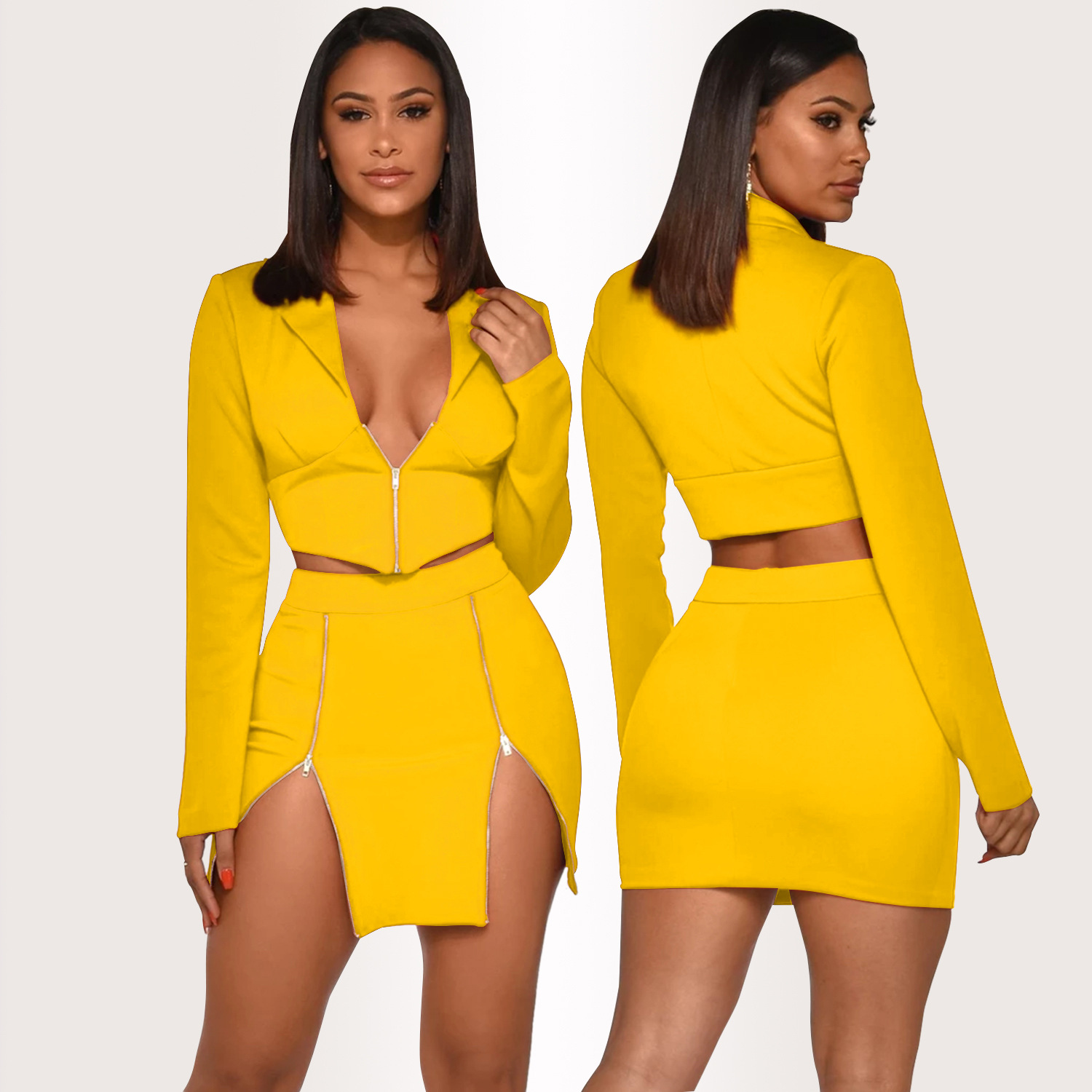 Two Piece Set Clothes Women Summer Sexy Long Sleeve Crop Top Mini Skirts Elegant Matching Sets Evening Party Suit Outfits