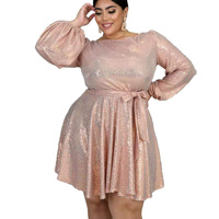 Long sleeves pink SUPER LARGE plus size dress for woman A017 O neck European hot fashion ladies spring autumn 4XL 5XL 6XL DRESS
