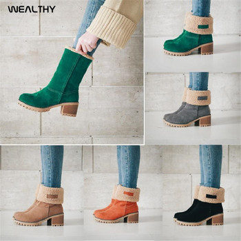 WEALTHY Women Shoes Winter Fur Warm Snow Boots Ladies Flock Warm Middle Booties Solid High Heel Martin Boot Casual Ankle Boots wealthy women shoes winter fur warm snow boots ladies flock warm middle booties solid high heel martin boot casual ankle boots