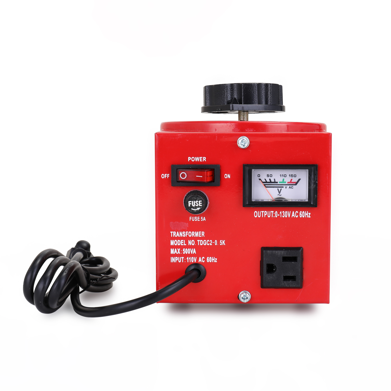 Saída manual 0-110 v do regulador de tensão do contato de variac da indicação digital da entrada do regulador 130 v da fase monofásica