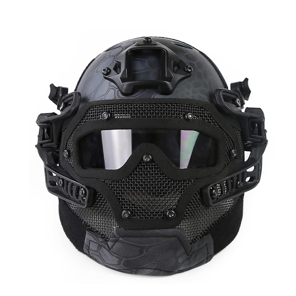 2019 New Tactical Helmet Covers FMA Army Military Airsoft Helmet Full Face Head Mask Unisex With Goggle Glass for Outdoor Sports