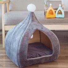 Maison de Style à la mode pour chats, lit doux pour petits et moyens chiens, niche pour chaton, accessoires nid de couchage, grotte chaude et confortable pour l'hiver