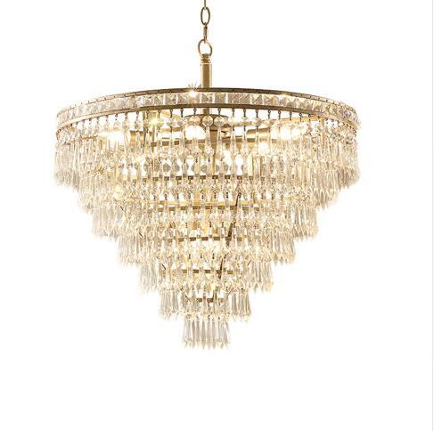 American Gold Crystal LED Chandelier Luxury Round lighting Fixture Creative For Home Living Room dining Room Lighting Fixture Chandeliers    - title=