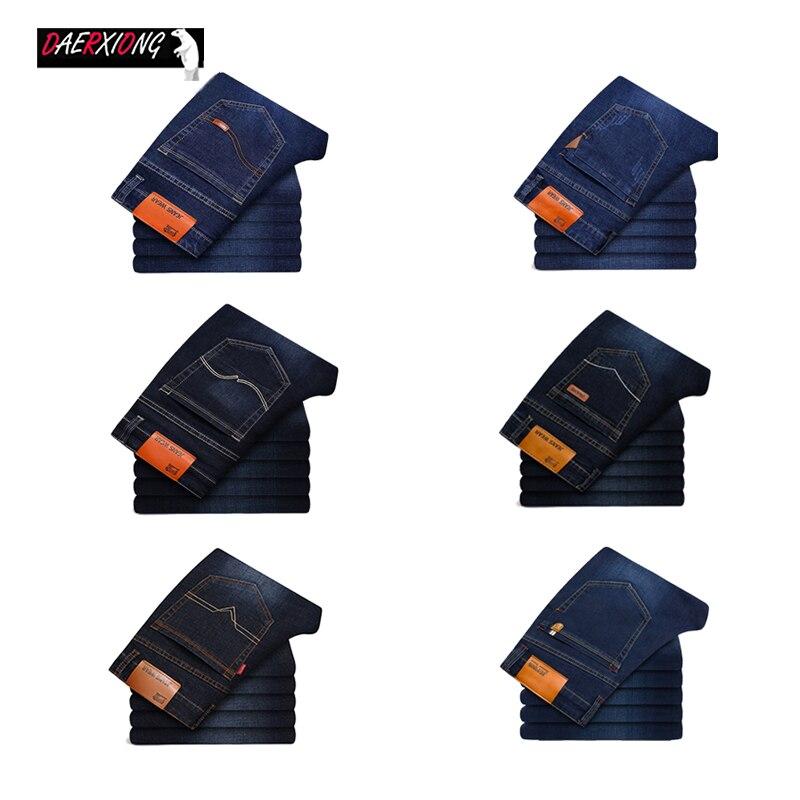 Cotton Straight Business Men Jeans Autumn Spring Casual Denim Jeans Men Stretch Slim Jeans Male Classic Blue Black Jean Homme