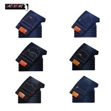 Men Cotton Straight Business Jeans Autumn Spring Casual Biker Denim Jeans men stretch slim jeans male classic blue black jeans