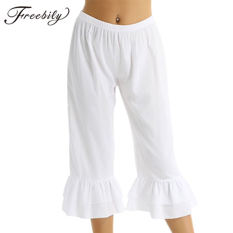 Women Retro Vintage Elastic Waist Ruffles Hem Casual Pantaloons Bloomers Victorian Era Costume Womens Loose Flare Pants(China)