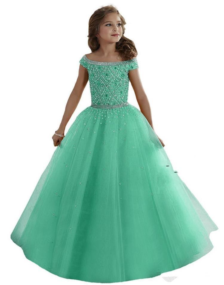 Mint Green Girls Pageant Dresses Ball Gown Off The Shoulder Tulle Beaded Long Flower Girl Dresses For Weddings Little Girls
