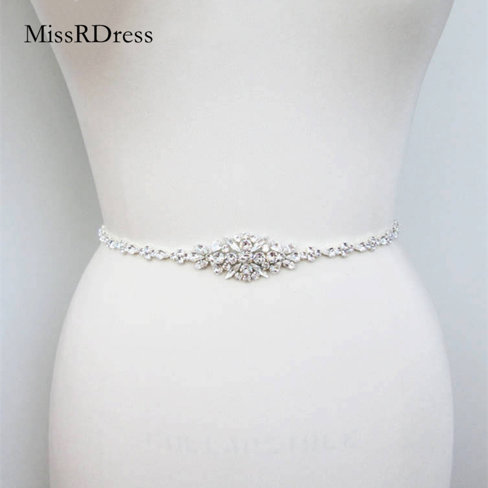 Belt Crystal Sash Dress Rhinestones Diamond Women Thin for JK868