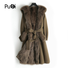 Hooded-Jacket Fur Coat Real-Wool Women Parka Trench Pudi Natural Long Fall/winter Outwear