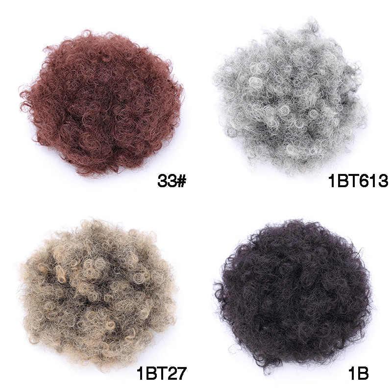 MSTN женские 8 дюймов Короткие афро слоеные синтетические волосы булочки шиньон волос шнур конский хвост кудрявый булочка накладные волосы на заколке