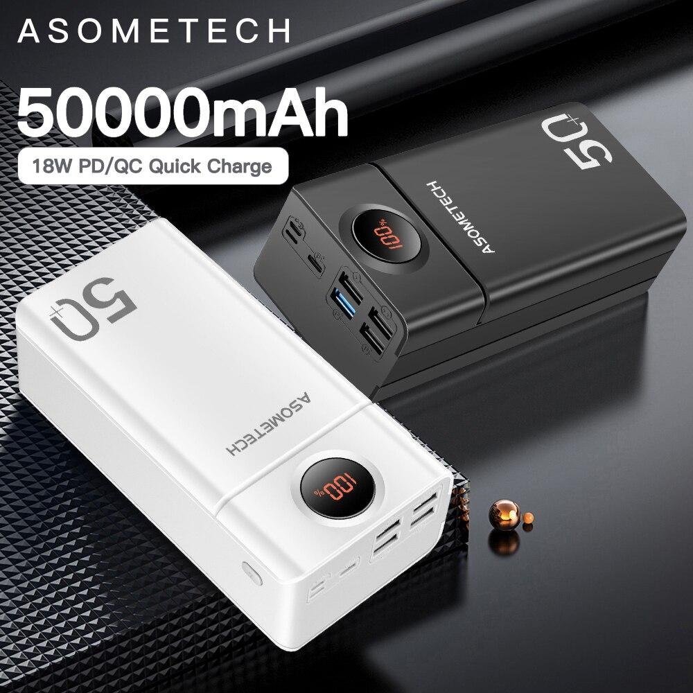 Batterie d'alimentation 50000mah QC 3.0 PD 18W Charge rapide bidirectionnelle PowerBank Charge rapide batterie externe appauvrbank pour iPhone Xiaomi