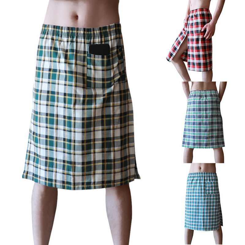 2020 Fashion Mens Casual Sleep Bottoms Plaid Lounge Thuis Kleding Ondergoed Nachthemd Katoen Ademend Sexy Bad Rokken