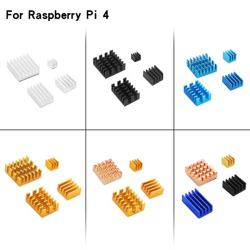 Raspberry Pi 4 Model B 4pcs Aluminum Heat Sink Silver Black Gold Blue Multicolor Cooling Radiator Cooling Kit For RPi 4B