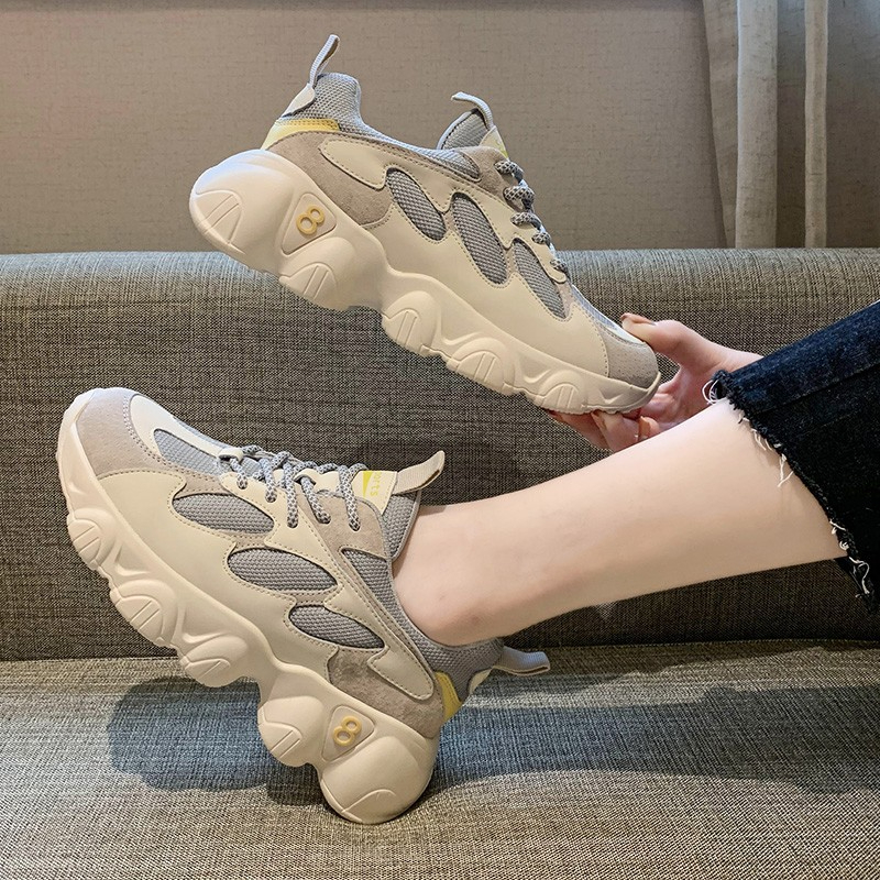 Women's Chunky Sneakers 2020 Ulzzang Fashion White Designers Casual Shoes 6cm Trainers Woman Lace Up Platform Vulcanized Shoes