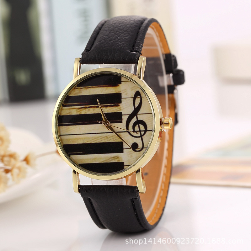 2017 New Style Piano Keys Music Symbol Quartz Watch Women's Top Grade Leather Belt Watch