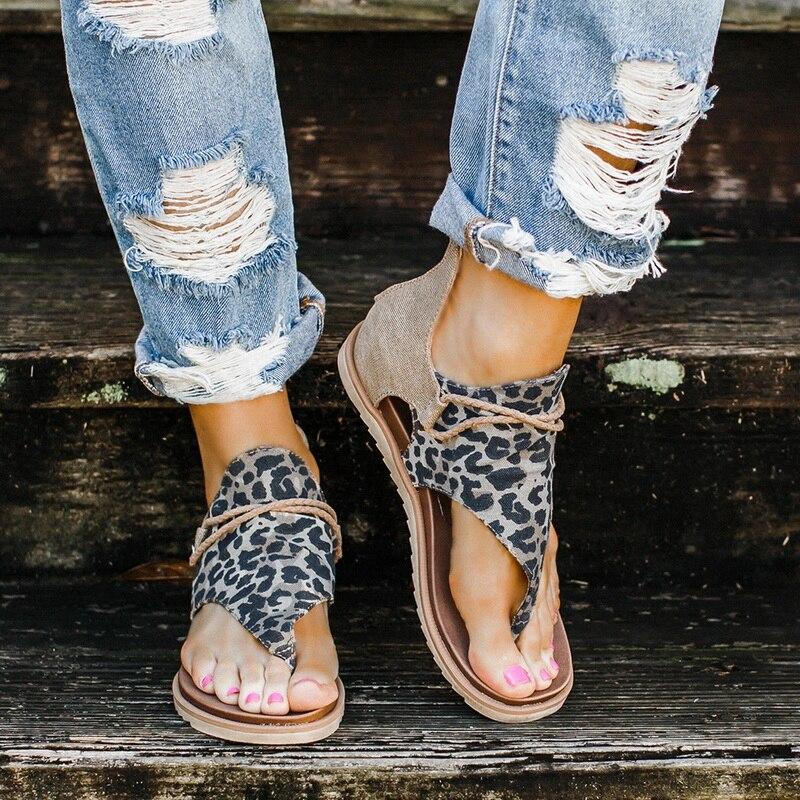 Women Sandals Leopard Print Summer Shoes Summer Strap Sandals Women's Flats Open Toe Leopard Casual Shoes Sexy Ladies Shoes
