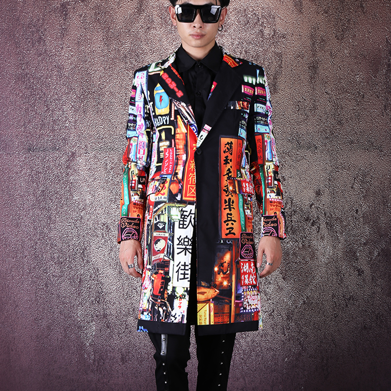 Men Vintage Pattern Print Fashion Slim Fit Long Blazer Jacket Male Hip Hop Dancer Singer DJ Suit Coat Outerwear Stage Clothes